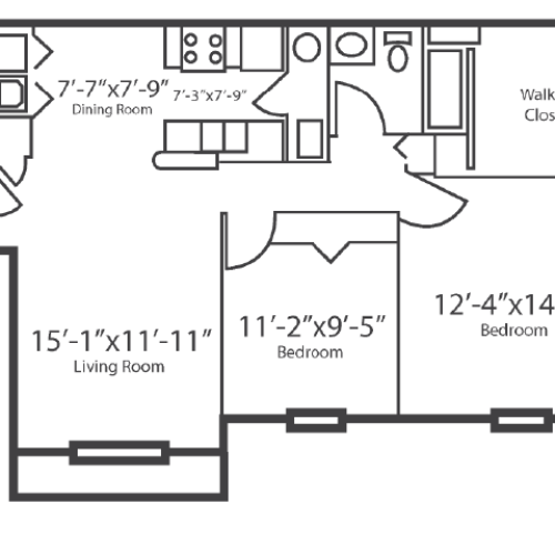 2 Bdrm Floor Plan | Apartments In Columbus Ohio | The Attleigh