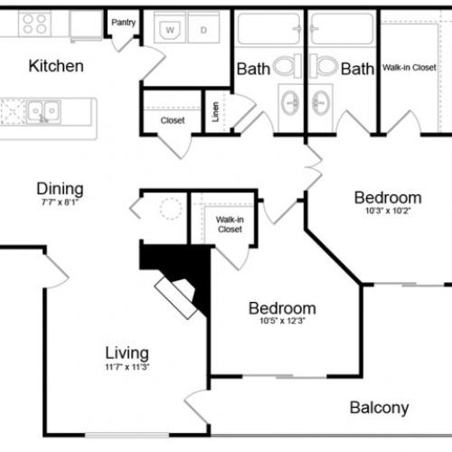 Floor Plan 4 | Apartments In Englewood CO | Silver Cliff