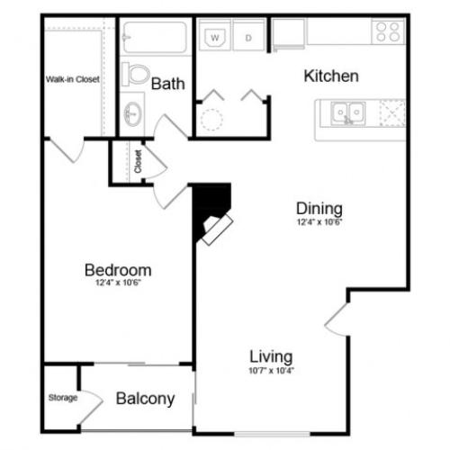 Floor Plan 1 | Englewood CO Apartments | Silver Cliff