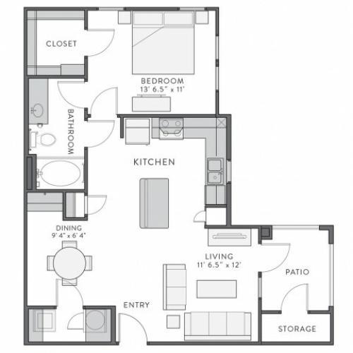 Floor Plan 2 | 1 Bedroom Apartments In Lake Charles La | Watervue