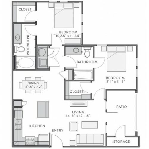Floor Plan 3 | Lake Charles Apartments | Watervue