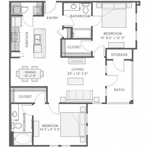 Floor Plan 4 | Lake Charles Louisiana Apartments | Watervue