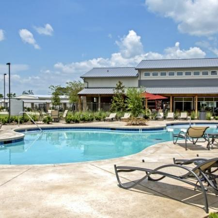 Lounging by the Pool | 1 Bedroom Apartments In Lake Charles La | Watervue