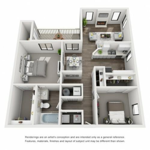 Floor Plan 3 | Apartment For Rent Morrison Colorado | Vista at Trappers Glen