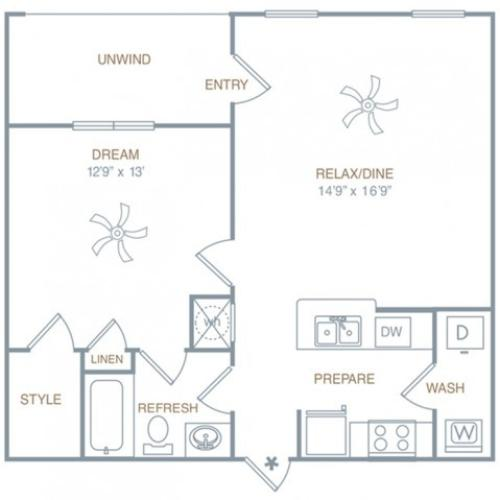 1 Bedroom Floor Plan | Luxury Apartments In Prattville Alabama | Meadows at HomePlace