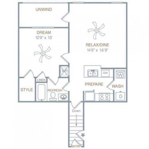 1 Bdrm Floor Plan | Apartments Prattville AL | Meadows at HomePlace