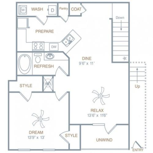 A2UG | 1 bed 1 bath | from 871 square feet