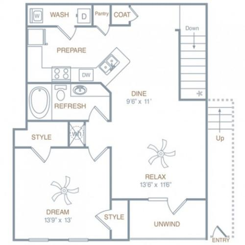 Floor Plan 1 | Luxury Apartments In Prattville Alabama | Meadows at HomePlace