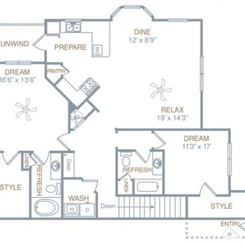 Floor Plan 3   Prattville AL Luxury Apartments   Meadows at HomePlace
