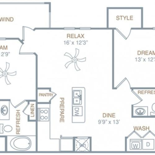 Floor Plan 4 | Prattville Alabama Apartments | Meadows at HomePlace