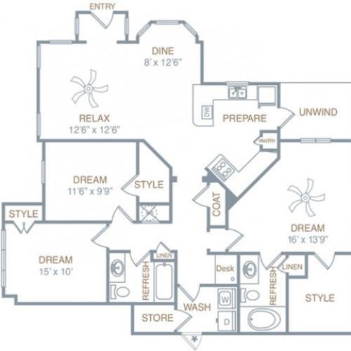 3 Bedroom Floor Plan | Apartments In Prattville | Meadows at HomePlace