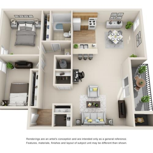 2 Bedroom Floor Plan | Park Place on 92nd