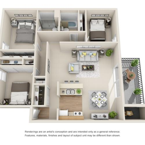 3 Bedroom Floor Plan | Park Place on 92nd
