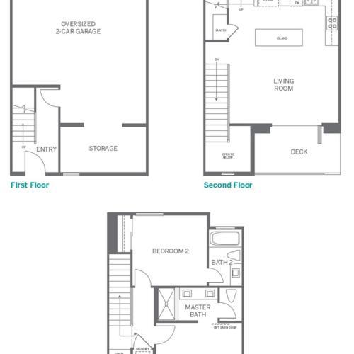 2 Bedroom Floor Plan | Apartments In San Marcos CA | Anden