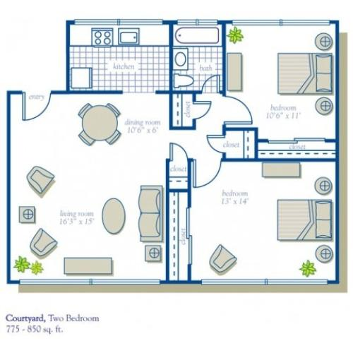 2 Bed - Courtyard