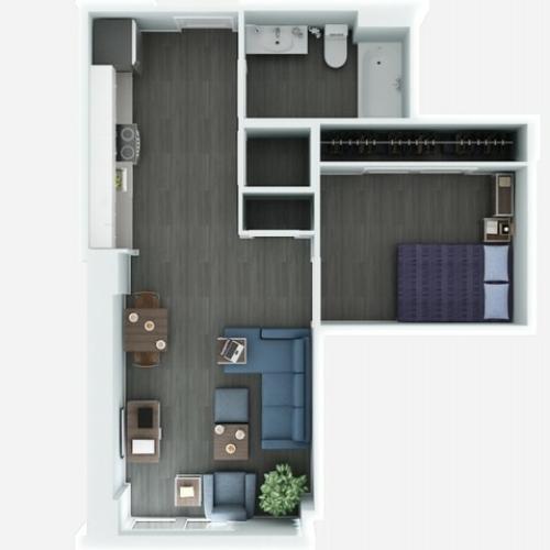 Jr 1 Bedrooom Floor Plan | The Rixey | Student Housing Arlington VA