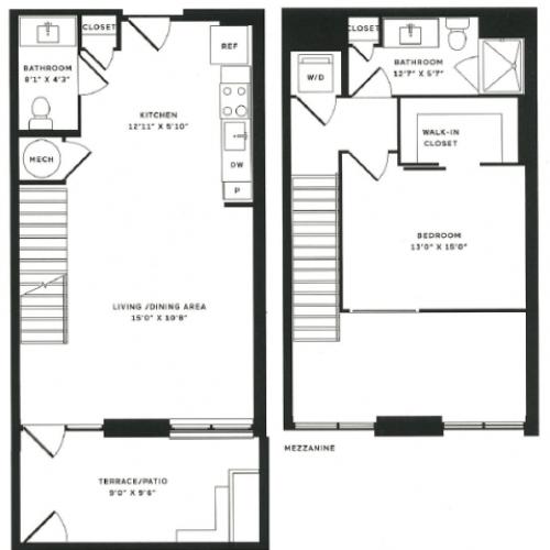 1 x a Loft Floor Plan  | The Rixey | Student Apartments In Arlington VA