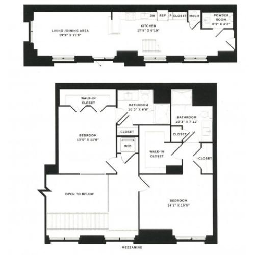 2 Bedroom + Loft Floor Plan  | The Rixey | Apartments In Arlington VA