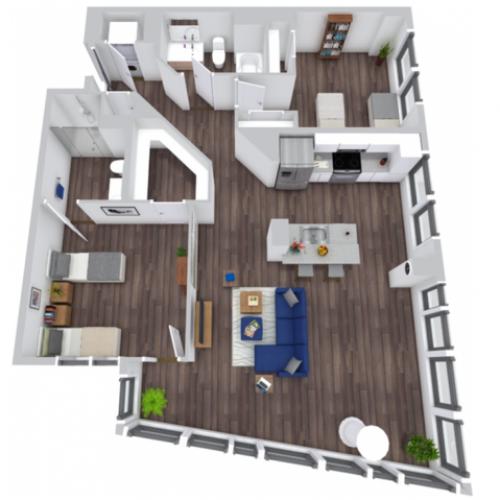 2 Bedroom Premium Floor Plan | The Rixey | Off-Campus Student Housing In Arlington VA