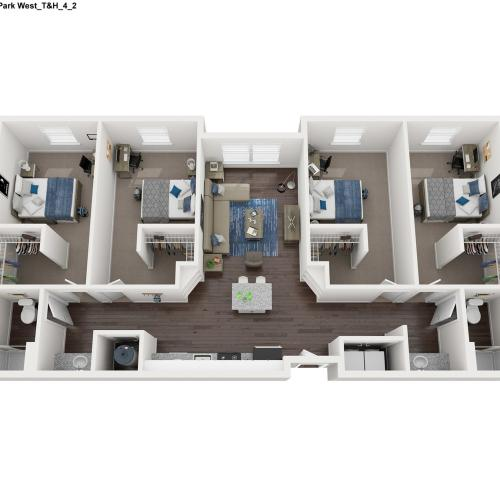 4 Bed 2 Bath Floor Plan