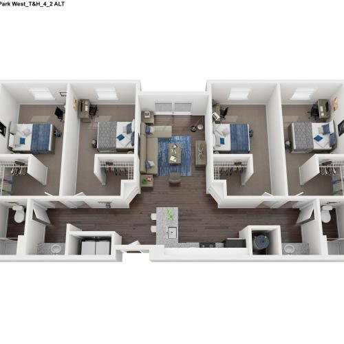 4 Bedroom 2 Bathroom Floor Plan