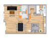 The Oak 1 Bedroom/1 Bath Floor Plan 630 Square Feet
