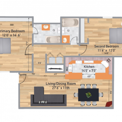 The Retreat 2 Bedroom/2 Bath Floor Plan 1050 Square Feet