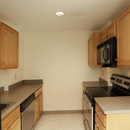 Stainless steel appliances in apartments in Danverse, MA