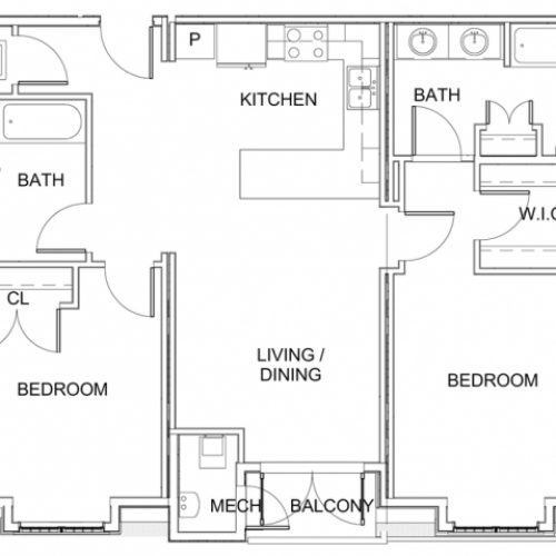 2 Bedroom Floor Plan C