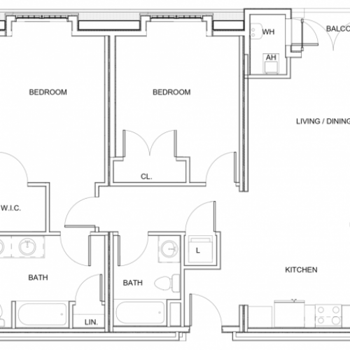 2 Bedroom Floor Plan D