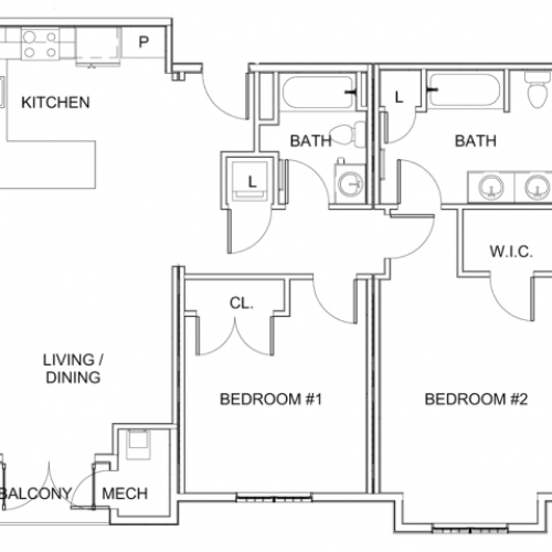 2 Bedroom Floor Plan E