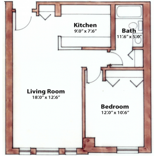 1 bedroom 630 Sq. Ft.