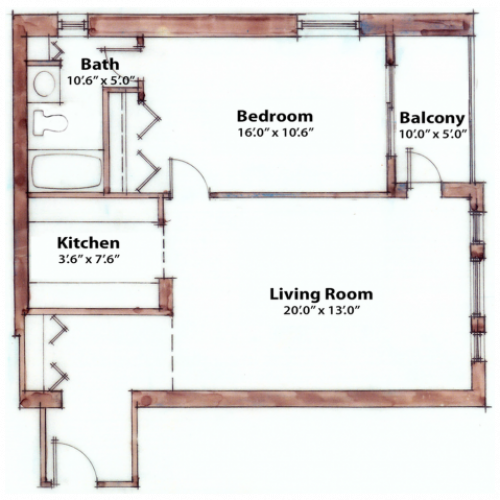 1 bedroom 655 Sq. Ft.