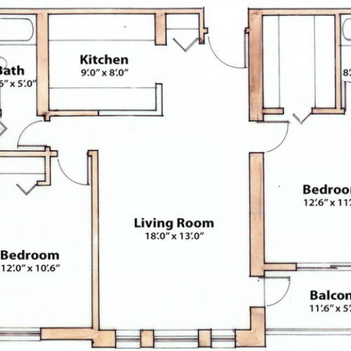 2 bedroom 890 Sq. Ft.