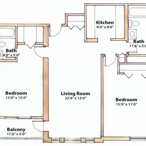 2 bedroom 965 Sq. Ft.