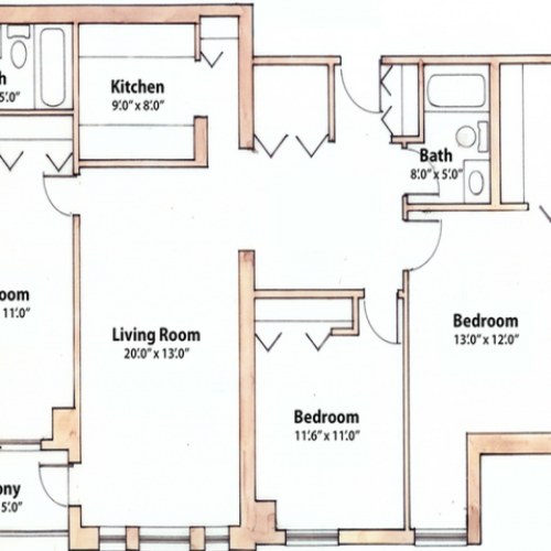 3 bedroom 1240 Sq. Ft.
