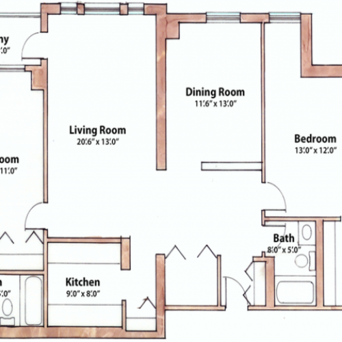 2 bedroom 1240 Sq. Ft.