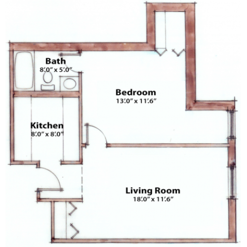 1 bedroom 560 Sq. Ft.