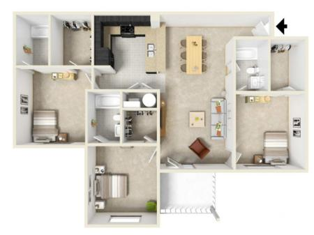 3 Bed 3 Bath - Furnished