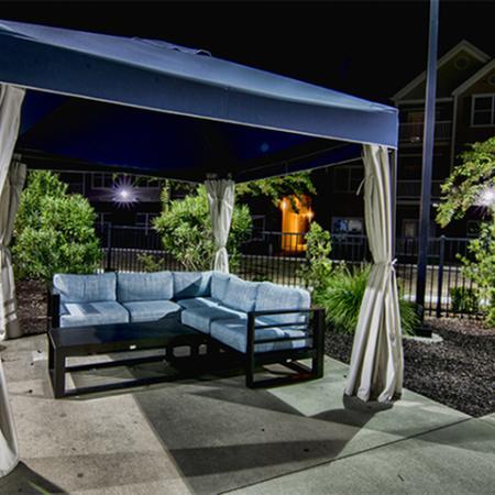 Aspire 349 pool cabana at night