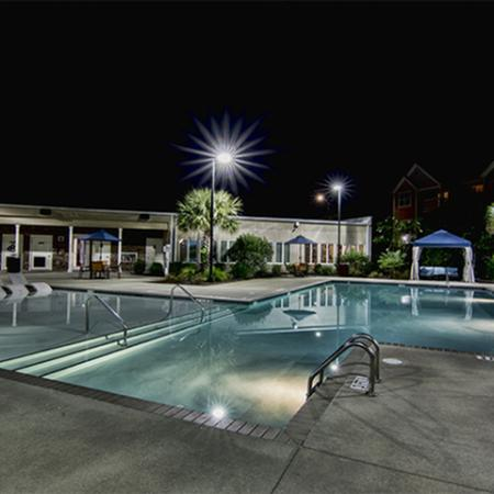 Aspire 349 pool at night