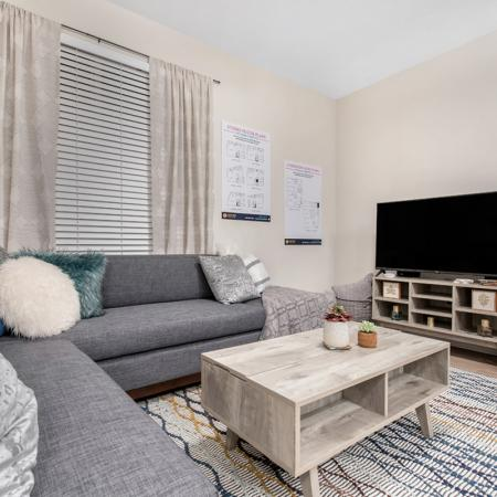 Luxurious Living Room | One Bedroom Apartments Purdue | Aspire at Discovery Park