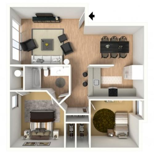 3D floorplan of two-bedroom, one-bathroom with furniture