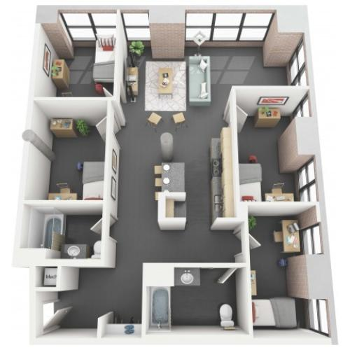 Jordan 4x2 - Floor Plan - Disclaimer: This floor plan is an approximation and may not include the most recent information.