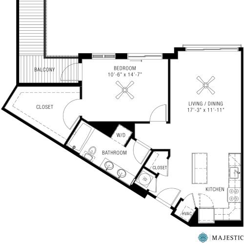 1 Bedroom Floorplan | Majestic 4