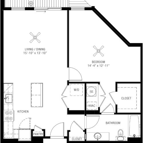 1 Bedroom Floorplan | Majestic 3