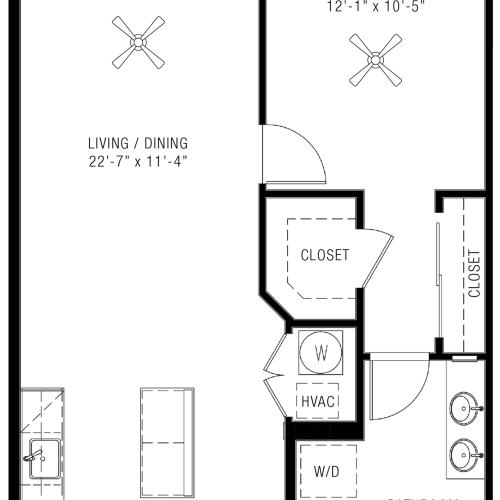 One Bedroom Floorplan | Majestic 4