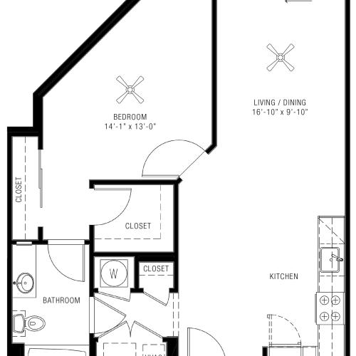 1 Bedroom Floorplan | Majestic 2