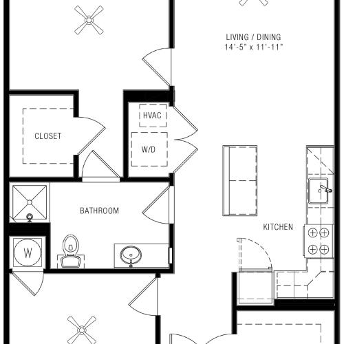 One Bedroom Floorplan | Majestic 1