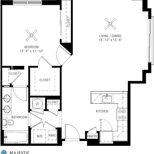 One Bedroom Floorplan | Majestic 7